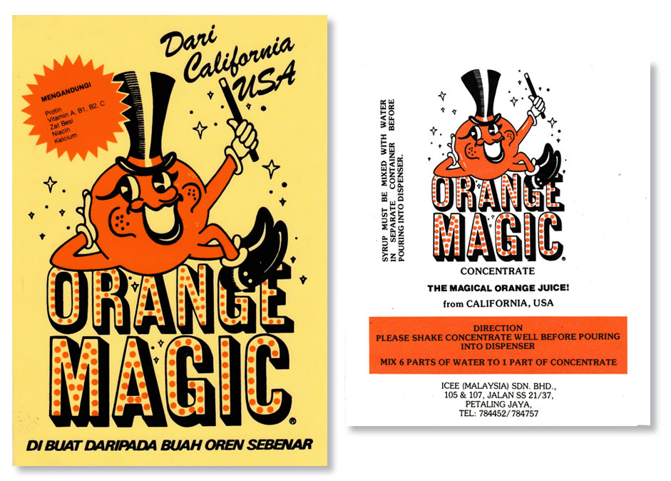 Orange Magic bottle labels