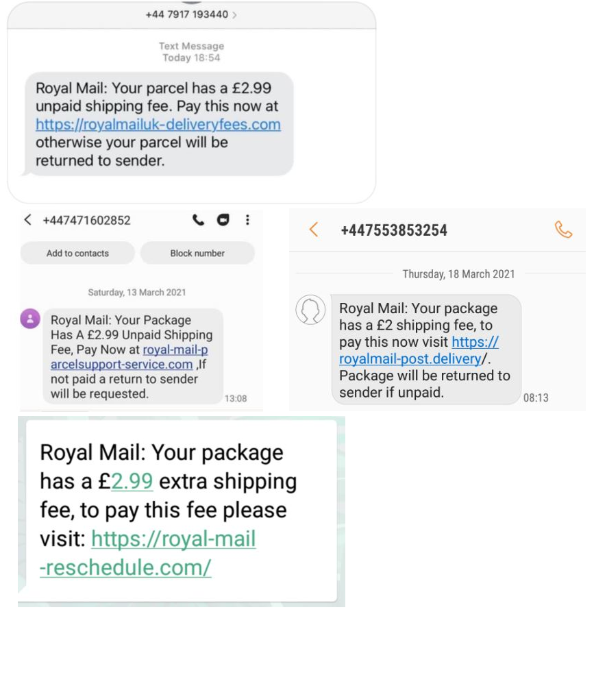 Royal Mail scam text messages
